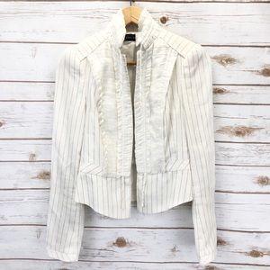 Zara Linen Striped Ruffle Blazer Sz XS ::EE2